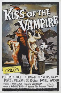 Kiss of The Vampire (1963) Hammer Film - Movie Posters https://www.youtube.com/user/PopcornCinemaShow