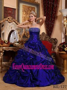 Royal Blue Strapless Quinceanera Dresses with Pick-ups and Beading for 2014