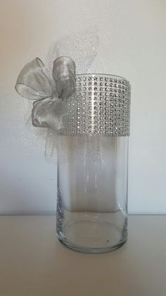 Rhinestone Organza and Ribbon Vases Wedding Centerpiece Bridal - Set of 12! Beautiful! by WeddingDecorandMore1 on…