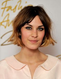 "From Charles Courcoux: ""Alexa Chung wears a trendy hairstyle: a messy bob combined with ombre color and copper at the end."""