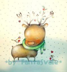 Christmas Greetings Card DIY IDEAS - The Cute and Cuddly Raindeer by Fantasvale.  More ideas here: www.youtube.com/Fantasvale