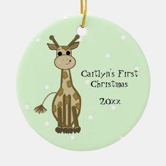 Giraffe Decor, Cute Giraffe, Giraffe Baby, Jungle Illustration, Christmas Illustration, Babies First Christmas, Christmas Baby, Xmas, Baby Ornaments