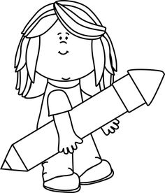 Black and White Kid with a Big Pencil Clip Art - Black and White Kid with a Big Pencil Image
