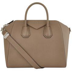 Givenchy Medium Antigona Grain Tote Bag (93,935 PHP) ❤ liked on Polyvore featuring bags, handbags, tote bags, leather handbags, brown tote purse, leather purses, tote handbags and leather handbag tote