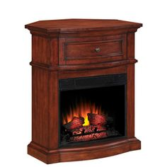 Lowe's Home Improvement Fireplace Update, Black Fireplace, Home Fireplace, Corner Fireplace Tv Stand, Corner Electric Fireplace, Eclectic Fireplaces, Mountain Home Interiors, Victorian Fireplace, Corner Table