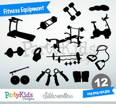 Fitness Equipment Silhouettes, SVG Fitness Equipment, Instant Download, svg, png, jpg and eps file types included, PS-297.