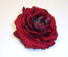 One Silk Ranunculus in Red - 3.75 Inches - Silk Flower