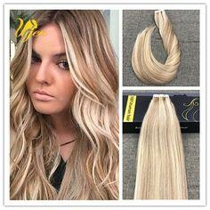 Balayage Caramel Blonde Highlight BleachBlonde Remy Tape in Human Hair Extension #Ugea #StraightBundle