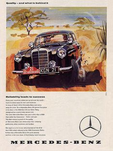 Mercedes - Benz S Ponton from the fifties Mercedes 180, Mercedes Benz Germany, Mercedes Benz Autos, Classic Mercedes, Volkswagen, Vintage Advertisements, Vintage Ads, Auto Union, Automobile