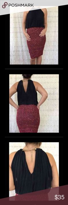 Be My Valentine Red & Black Dress Black and red formal dress. Has red sequins. Very soft and comfortable. The black top is pleated and has a necklace type of keyhole. SZ SMALL . Measurement upon request. Same day shipping on purchases made before 2PM PST Dresses Midi
