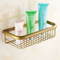 Find More Bathroom Shelves Information about Antique brass bathroom shelf storage basket wall mounted bathroom accessories metal shampoo shower caddy salle de bain,High Quality shelf dvd,China shelf Suppliers, Cheap basket for bath toys from Outdoor Sports Products NO.1 on Aliexpress.com