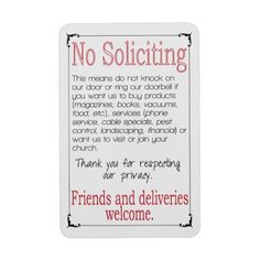 polite no soliciting signs