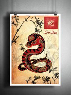 Chinese Zodiac snake asian wall decor, Sumi-e Asian wall decor, Japanese ink painting, Zodiac art print Asian Wall Decor, Asian Wall Art, Art Zodiaque, Art Mural, Chinese Zodiac Snake, Snake Zodiac, Japanese Ink Painting, Zodiac Art, Zodiac Signs