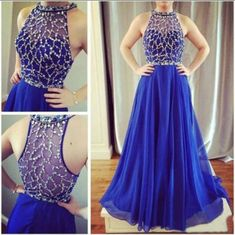 Sexy Beads Crystal Prom Dresses O Neck Long Royal Blue Chiffon Formal Evening Party Gowns