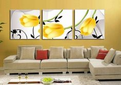 youniverseonline Yellow Rose Flower Decorative Wall Decor Abstract Oil Painting Hand Painted Wall Art Ready to Hang 3 Piece Oil Painting Abstract, Silk Art, Decoration, Canvas Wall Art, Wall Decor, Modern Art, Art Oil, Home Decor, Yellow Tulips