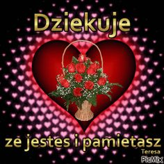 dziekuje Good Morning Beautiful Gif, Animated Heart, Emoticon, Beautiful Roses, Wish, Valentines, Animation, Day, Cards