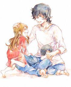 Yuki & Ame with their dad