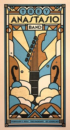 An abstract art  design of clouds and a guitar rising through them