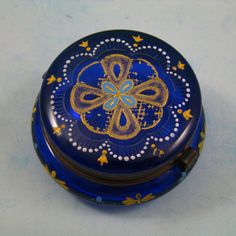 Victorian Era Bohemian Cobalt Blue Glass Enameled Hinged Patch or Trinket Box