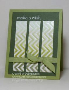Stampin Up Chevron background stamp with white embossing resist technique simple but great card