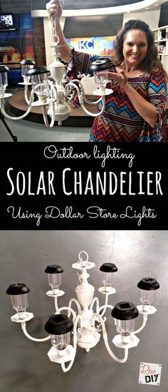 Looking for unique garden lighting? Make this solar chandelier using a chandelier and dollar store solar lights. Add character to your outdoor lighting!