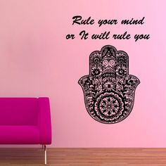 Wall Decal Quote Rule Your Mind Fatima Hand Hamsa Vinyl Sticker Yoga Decor KG244