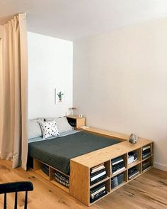 home decor for small spaces 35 Inspiration For Small Space Bedroom Decorating Ideas - Its not that difficult to purchase bedroom furniture for small spaces if you remember a few ground rules, for instance, when you are particularly lim. Diy Storage Ideas For Small Bedrooms, Small Bedroom Storage, Small Space Bedroom, Small Bedroom Designs, Small Storage, Bed Storage, Storage Organization, Bedroom Organization, Space Saving Bedroom