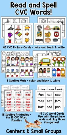 Practice reading and spelling CVC words with this versatile set of spelling mats, picture and word cards, and spelling printables! Perfect for centers or small group work!
