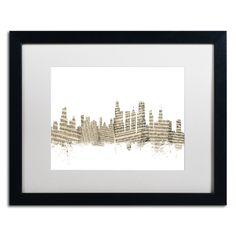 Chicago Skyline Sheet Music by Michael Tompsett Framed Graphic Art in White