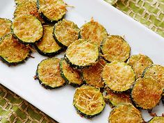 Zucchini Parmesan Crisps Recipe : Ellie Krieger : Food Network I think I might try this with eggplant too.