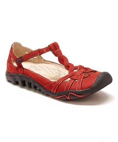 Look at this #zulilyfind! Red & Tan Leather Xterra Closed-Toe Sandal #zulilyfinds