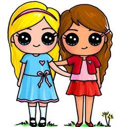 Makeup And Age   Cute Kawaii Drawings, Kawaii Girl Kawaii Girl Drawings, Bff Drawings, Cute Easy Drawings, Cute Girl Drawing, Cartoon Drawings, Draw So Cute Girl, Kawaii Disney, Cute Best Friend Drawings, Drawings Of Friends