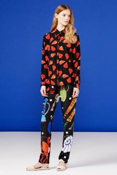 Mixing and matching prints doesn't begin and end with floral and plaid. Wear your fruits and unusual shapes together for a covered-up, printed look with mega personality. Novis #refinery29 http://www.refinery29.com/resort-2015-outfit-ideas#slide-25