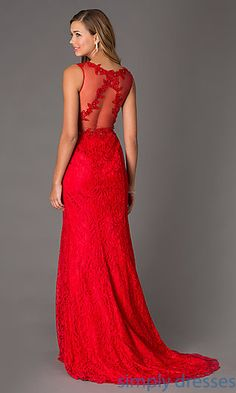 3fa9496c087 Long Sleeveless V-Neck Lace Prom Dress