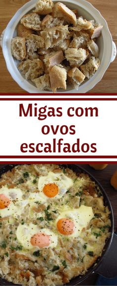 Do you want to cook a traditional, nutritious and delicious meal for a winter lunch? We suggest you to prepare Portuguese migas (crumbs) with poached eggs, it will give energy to the cold days and it has a very Portuguese flavor! Egg Recipes, Light Recipes, Cooking Recipes, Healthy Recipes, Recipies, Migas Recipe, Portuguese Recipes, Portuguese Food, Good Food