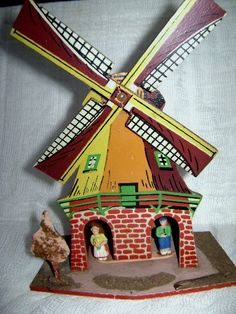 Vintage Dutch Windmill Chalet Thermometer Barometer by junquegypsy, $28.20