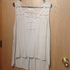 Maurices tan tank top with lace scallop detail XL Maurices tan high-low style tank top with lace scalloped detailing. Very cute just too big for me Maurices Tops Tank Tops