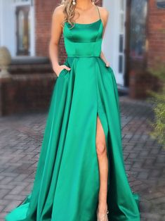 Green Prom Dresses with Pocket Long Backless Slit Prom Dresses Prom Dresses Green, Prom Dress, Prom Dresses Backless Prom Dresses 2019 Backless Prom Dresses, A Line Prom Dresses, Cheap Prom Dresses, Dance Dresses, Homecoming Dresses, Quinceanera Dresses, Dress Prom, Long Dresses, Dress Long