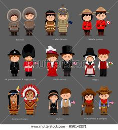People in national dress. United Kingdom, Canada, United States of America (USA). Set of pairs dressed in traditional costume. Countries And Flags, Costumes Around The World, Dress Illustration, Indian Bridal Fashion, Thinking Day, Cultural Diversity, En Stock, Character Concept, American Indians