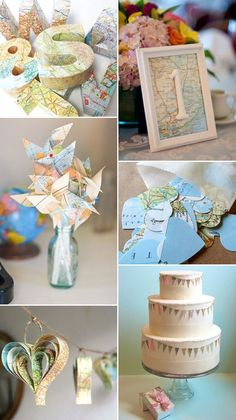 Wedding Theme Ideas Replace the maps featured with blue prints/galaxy maps from Firefly, etc. - Destination wedding ideas - map themed wedding decor ideas for your wedding. Wedding Themes, Our Wedding, Destination Wedding, Wedding Planning, Wedding Decorations, Themed Weddings, Map Decorations, Trendy Wedding, Wedding Centerpieces