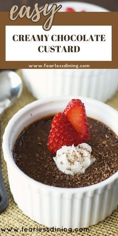 This easy super rich chocolate custard makes a delicious dessert. Thick and creamy, this is the ultimate chocolate lovers dessert. Naturally gluten free. fearlessdining Chocolate Custard Recipe, Gluten Free Chocolate Cake, Gluten Free Sweets, Homemade Chocolate, Chocolate Desserts, Craving Chocolate, Chocolate Lovers, Flan Dessert, Custard Desserts