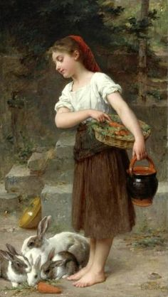 Emile Munier (1840 – 1895, French) Painting of young girl with rabbits.