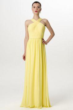 Tender yellow chiffon bridesmaid dress with pleated criss-cross neckline. Floor  length A-line long dress. 3c9b5f73c213