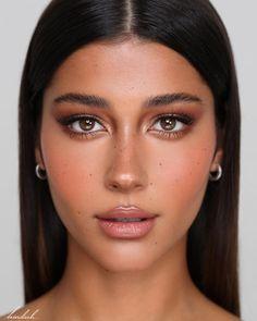 Natural Glowy Makeup, Natural Summer Makeup, Natural Makeup For Brown Eyes, Summer Makeup Looks, Simple Makeup Looks, Natural Brown, Red Lips Makeup Look, Wedding Makeup For Brown Eyes, Makeup Looks For Brown Eyes