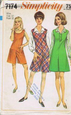 "Jumper Pant Dress VINTAGE Sewing Pattern 7174 SIMPLICITY BUST 32 HIP 34"" UNCUT"