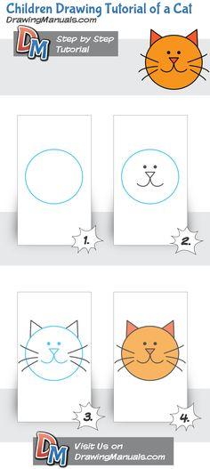 Children Drawing Tutorial of a Cat, on DrawingManuals.com