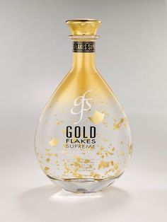 Here you go laura l. Gold Flakes Supreme Distilled vodka, made with 24-karat gold flakes that float and glitter magically in the glass.  Like a snow globe. PD