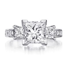 Love the 3 stone Princess Cut!in however many years. Engagement Rings Channel Set, Elegant Engagement Rings, Princess Cut Engagement Rings, Three Stone Engagement Rings, Engagement Ring Styles, Engagement Ring Settings, Wedding Rings, Dress Rings, Ring Verlobung