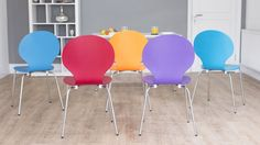 Comfortable Wooden Dining Chairs with Chrome Legs
