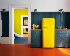 Fun Kitchen Colors Black Cabinetry With Wooden Countertop Along With Yellow Fridge Kitchen Color Ideas White Appliances Kitchen Fun Paint Ideas For Bedroom. Fun Colors For Laundry Room. Fun Kitchen Painting Ideas. | tikilynn
